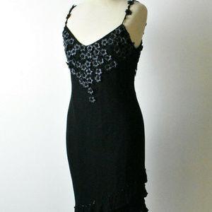 CACHE BLACK DRESS Size 10 Silk Ribbon Flowers Bead